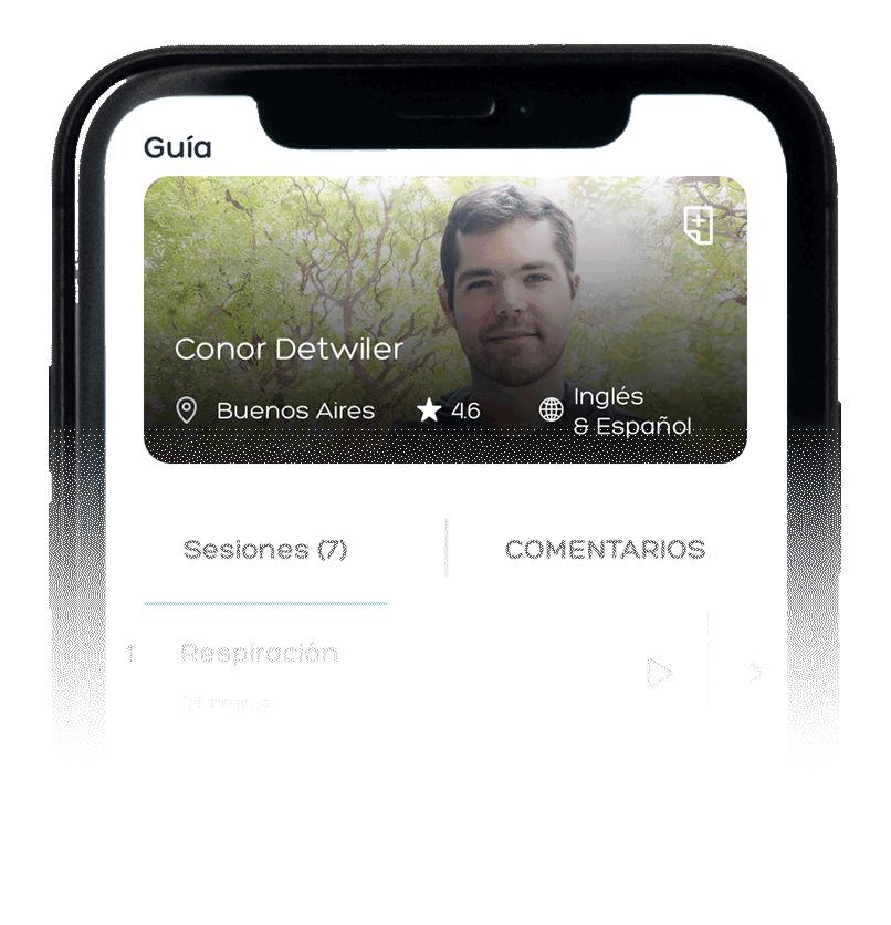 Meditaciones guiadas por Conor Detwiler en la app Aumhum